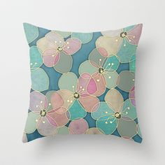 It's Always Summer Somewhere 2 - translucent poppy doodle Throw Pillow by Micklyn - $20.00