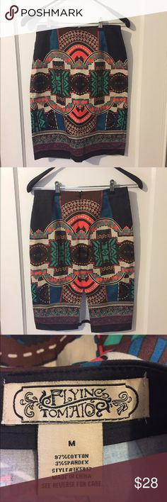 """Flying Tomato Printed Pencil Skirt In Great Condition/ Waist: A bit over 14"""" Length: 23"""" Flying Tomato Skirts Pencil"""
