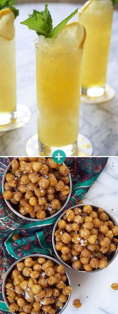 26 Delicious Things To Serve At Your Holiday Party Ginger-Sherry Spritzers + Crispy Spiced Chickpeas I Want Food, Love Food, Yummy Drinks, Yummy Food, Homemade Bagels, Exotic Food, Holiday Recipes, Food And Drink, Cooking Recipes