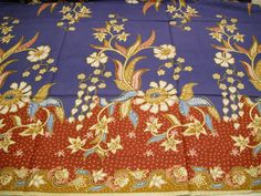 Malaysian Floral Batik Sarong cotton fabric by KimonoARTUK on Etsy