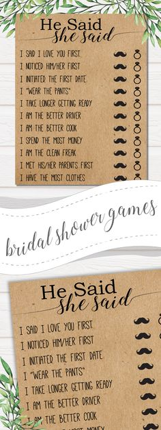 These bridal shower games could go with a variety of themes. Print on Kraft paper for a rustic look or go for cardstock or stationary for a more refined appearance. . . bridal shower games,wedding invitations,bridal shower,bridal shower favors,wedding games,bridal shower invitations,bridal shower ideas,bridal shower deocrations,wedding shower