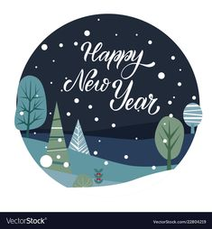 Merry christmas and happy new year postcard vector image on VectorStock Happy New Year Stickers, Happy New Year Cards, Merry Christmas Card, Merry Christmas And Happy New Year, Happy New Year Letter, New Year Card Design, Evil Eye Art, New Year Illustration, Happy New Year Background