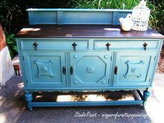 Jabobean Painted Buffet Annie Sloan Chalk Paint Custom Color of Aubusson Blue and Provence. Gorgeous!
