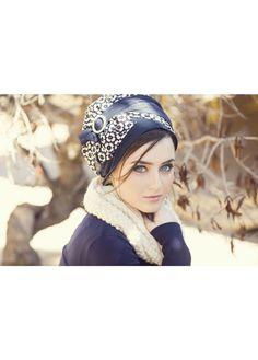 blue pre-sewn head covering