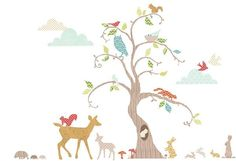Decorate your baby girl or boy's nursery walls with these woodland themed wall stickers. Pack includes a deer, rabbits, squirrels an owl and a tall tree.
