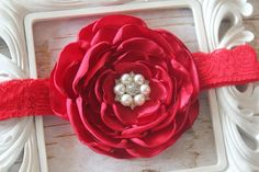 Red Baby Fower Baby Headband Newborn Photo by SparklesButterflies
