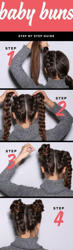 We're giving the baby bun hairstyle a twist with this easy DIY hair tutorial. In this hair tutorial, we break down the step-by-step process so you can create the braided baby buns hairstyle at home. Hairstyles For School, Trendy Hairstyles, Braided Hairstyles, Wedding Hairstyles, Beautiful Hairstyles, Summer Hairstyles, Grunge Hairstyles, Step By Step Hairstyles, Holiday Hairstyles