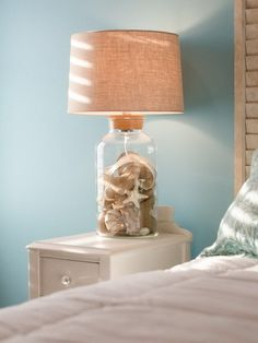 7 Shell And Burlap Filled Lamp