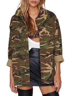 d2de2f3c238 Women Casual V Neck Pockets Zipper Button Boyfriend Camo Jacket - Green -  CG186ECR7MZ
