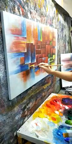 A colorful piece of art,It seems show us the life is like block palette,always full of surprises and the unknown. Abstract Painting Techniques, Acrylic Painting Lessons, Acrylic Painting Canvas, Diy Canvas Art, Abstract Wall Art, Painting Inspiration, Modern Art, Paintings, Life