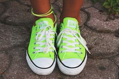 Bright green tennies.