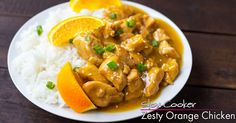 Zesty Crockpot Orange Chicken recipe. Tons of flavor & so easy to put together. Orange, ginger, soy sauce, rice wine vinegar, sesame - Asian deliciousness!