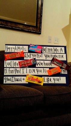 Homemade fun & easy anniversary gift, why i love you paragraph with candy!   Boyfriend ...