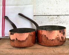 Vintage Copper and Tin Lined French Saucepans. Hand hammered Copper Saucepans. Vintage Copper Cooking pots. FATHERS DAY GIFT French  Vintage by JadisInTimesPast on Etsy