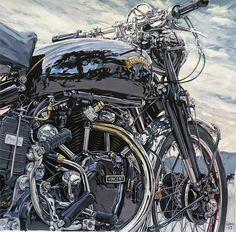 Cafe Racer Motorcycle, Motorcycle Art, British Motorcycles, Vintage Motorcycles, Vincent Motorcycle, Cafe Racer Style, Bike Poster, Mechanical Art, Garage Art