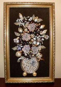 Large Original Framed Vintage Jewelry Art Flower Vase & Butterflies Handcrafted