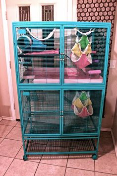 """rustoleum painters touch in """"seaside"""" ------------------------------------------ Love the idea of painting the critter nation cage! Thankfully my rats don't chew the bars since upgrading their cage so hopefully this will become an option in the future :) Pet Rat Cages, Hamster Cages, Pet Cage, Ferrets Care, Cute Ferrets, Cute Rats, Ferret Nation Cage, Critter Nation Cage, Chinchilla Cage"""