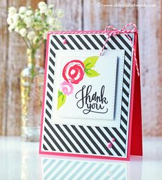 Great Thank You by Wanda Guess using brand new Simon Says Stamp from the Color of Fun Release. #sssfave