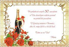 Výsledok vyhľadávania obrázkov pre dopyt pozvánka na oslavu 50. narozenin text 50th