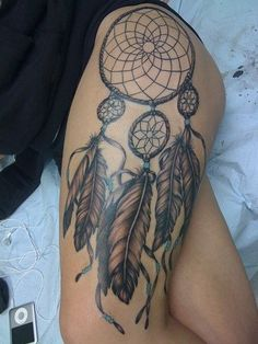 giant dreamcatcher tattoo on the hip/thigh Right side and Tinks la print in it OR  do on left side and feathers turn into waves with ship
