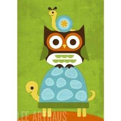 owls and friends | friends. turtle, owl and snail.