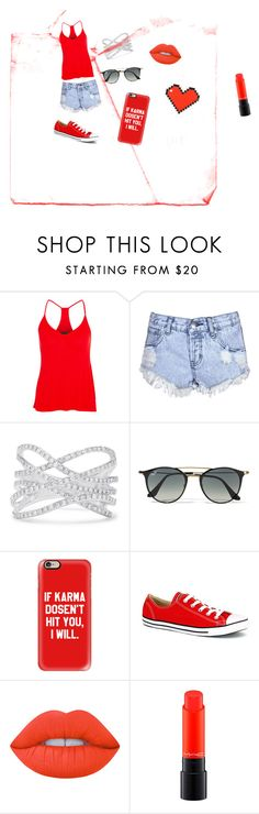 """""""Red outfit"""" by btsbabe ❤ liked on Polyvore featuring Enza Costa, Glamorous, Effy Jewelry, Ray-Ban, Casetify, Converse, Lime Crime, MAC Cosmetics and Anya Hindmarch"""