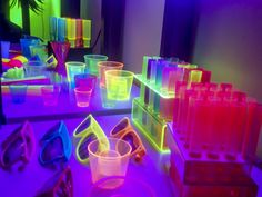 Blacklight Party Goodies on a Table