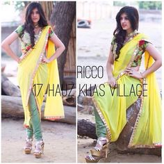 Floral crop top paired with a mirrorwork legging saree. Indowestern pre stitched saree to avoid the hassle of tying a saree! Extremely chic and comfortable  For order/details/customisation contact us on +918800511005 or www.facebook.com/riccoindia or ricco17hkv@gmail.com