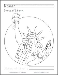 Statue Of Liberty Pattern Use The Printable Outline For Crafts