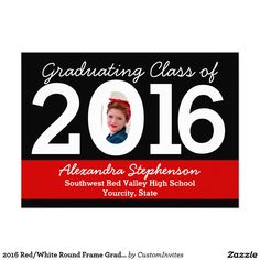 2016 Red/White Round Frame Graduation 5x7 Paper Invitation Card DIY Announcement Class of 2016 #graduation