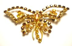 Pin Large Butterfly Made in Austria Topaz by FindCharlotte on Etsy