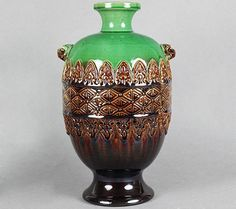 ARTS &CRAFTS VASE BY AULT ATTRIBUTED TO CHRISTOPHER DRESSER .C.1885.