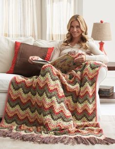 Lazy Day Ripple Pattern - Spend your lazy days inside working up this easy crochet blanket