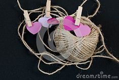 Pink Valentines day hearts on grey background