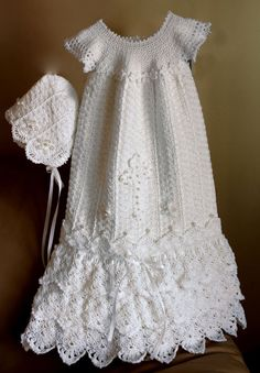 Serenity Gown Crochet Pattern Baby Baptism Christening Gown Sizes PR - 12 mos