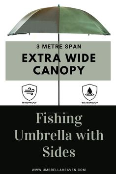 Here umbrella heaven we are proud to announce our new 3 m wide fishing umbrella up with sides. This umbrella comes with a UV coated in a canopy to keep you protected from the UV rays. #fishingumbrella Fishing Umbrella, Folklore, Canopy, Outdoor Gear, Shelter, Heaven, Zip, Sky, Heavens