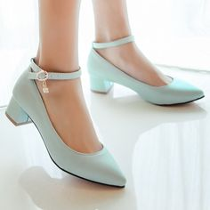 Meotina New Concise Women Pumps Pointed Toe Shoes PU Ankle Strap Career Square Low Heels Ladies Chains Solid Shoes Plus Size 10