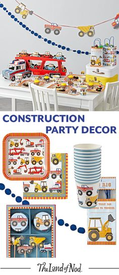 Build the birthday party or kids' celebration with tons of construction themed party décor, featuring trucks or all shapes and sizes.