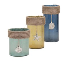 Coastal Glass Candle Hurricanes with Rope and Shell Embellishments.