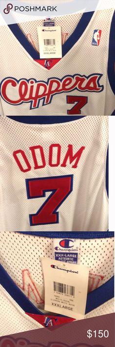 """NWT Lamar Odom LA Clippers Jersey (3X) Retro; Champion Athletics - NWT Lamar Odom LA Clippers jersey; size 3X/56. This is an excellent gift for any sports memorabilia collector. Officially licensed NBA authentic apparel. Stitched letters & numbers. Measurements are: armpit to armpit 28.5"""", Neck opening 14"""", shoulder to hem 36.5"""". Champion Shirts Tank Tops"""