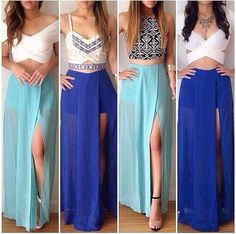 39 Ideas For Skirt Outfits Fancy Crop Tops Skirt Outfits, Dress Skirt, Dress Up, Maxi Skirts, Blue Skirts, Long Skirts, Dress Long, Dress Formal, Formal Prom