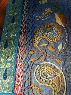 Paisley Jeans (detail) by Smallest Forest, via Flickr - hand embroidery