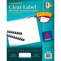 Avery Index Maker Unpunched Clear Label Dividers For Bound Documents 5 Tab White