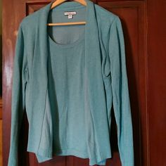 Sweater top (looks like two pieces but only one) Beautiful colored layered sweater top. Excellent condition! I hate to sell but I've gained weight. Blueish green (light turquoise I say) color Croft & Barrow Sweaters