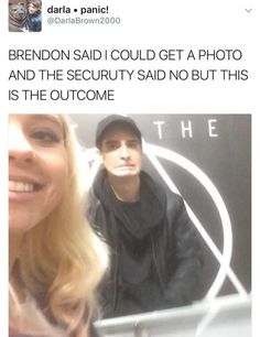 "I'm kinda surprised Brendon didn't just go ""f*** you!"" And take the pic away"