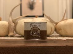Every party and every table needs a can of Hubs peanuts! Virginia Peanuts, Candle Jars, Candles, Chocolate Covered Peanuts, Canning, Party, Table, Food, Home Canning