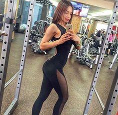 9deea03761d7 Women s Mesh Cut Out Fitness Jumpsuit