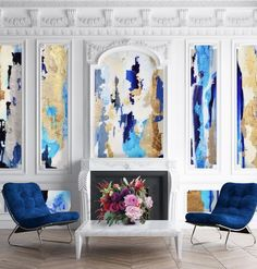 Art for frame molding, blue and gold wall frame molding, blue and gold abstract wall, recessed wall panel, coffered walls, decorative wall molding design, Wallpaper for wall panels, art inside wall molding, framed abstract wall art, large accent wall, blue accent wall, peel and stick wallpaper, abstract deisgner wallpaper, living room wall paper, interior desing, fireplace design, non working fireplace design, abstract blue white and gold wall art, blue and gold removable wallpaper Blue And Gold Wallpaper, Framed Wallpaper, Wallpaper Panels, Peel And Stick Wallpaper, Removable Wall Murals, Wall Trim, Prepasted Wallpaper, Wall Molding, Gold Walls