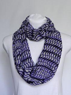 Purple Infinity scarf/ Chiffon Scarf/ Patterned Scarf/ Fashion