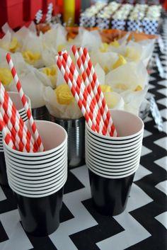 Black Paper Cups & Red & White Striped Paper Straws